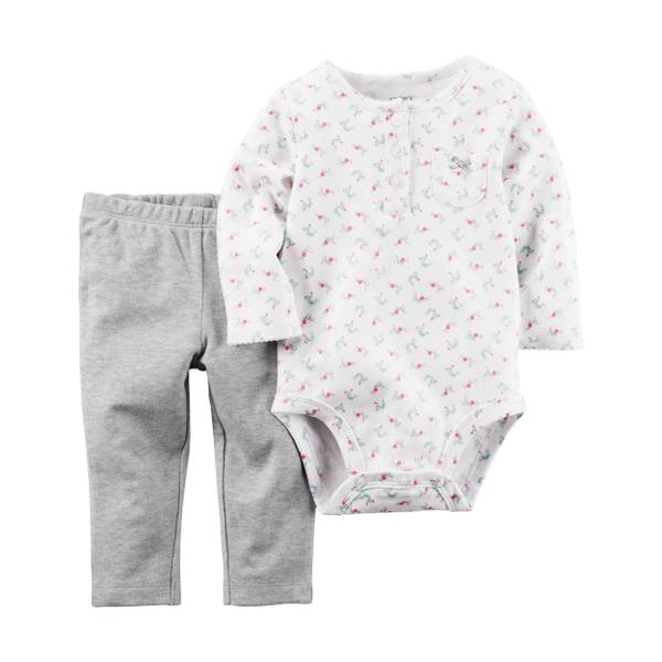 Baby Girl's White & Gray 2-Piece Bodysuit & Pants Set