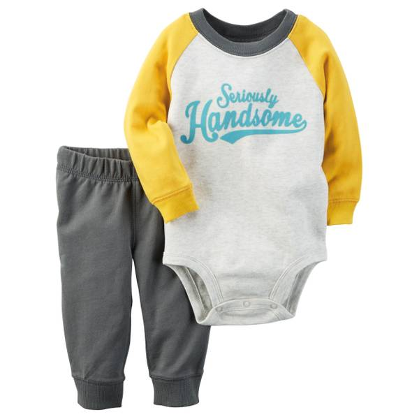 "Baby Boy's Gray & Yellow 2-Piece ""Seriously Handsome"" Bodysuit & Pants Set"