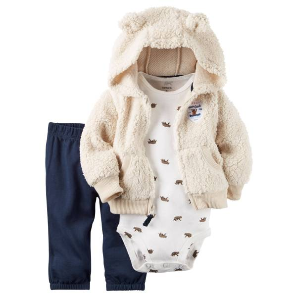 Baby Boy's Tan & avy & White 3-Piece Little Jacket Set