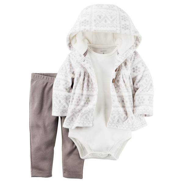 Baby Girl's Gray & White 3-Piece Little Jacket Set