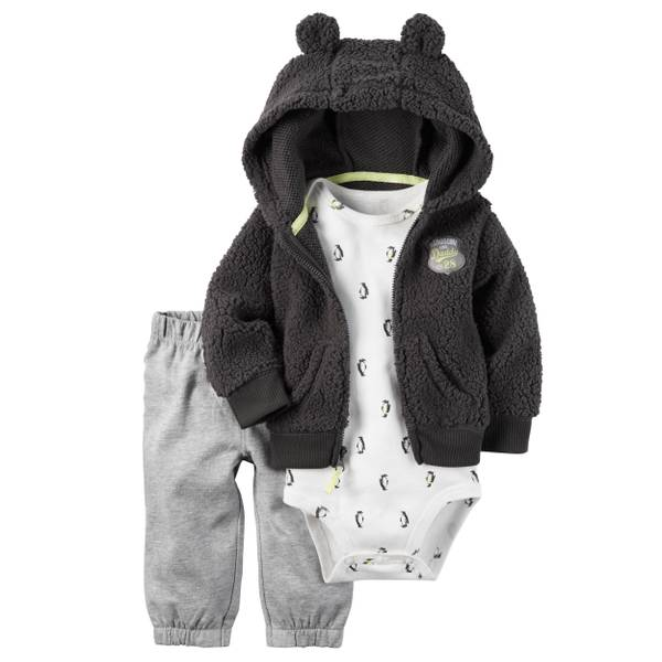Baby Boy's Gray & White 3-Piece Little Jacket Set