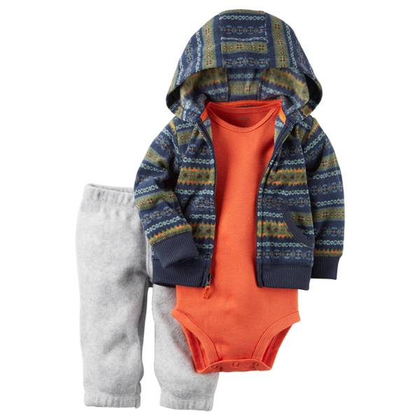 Baby Boy's Navy & Turquoise & Gray 3-Piece Little Jacket Set
