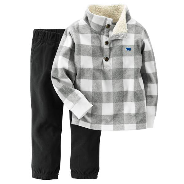 Baby Boy's Gray & Black 2-Piece Fleece Pullover & Pants Set