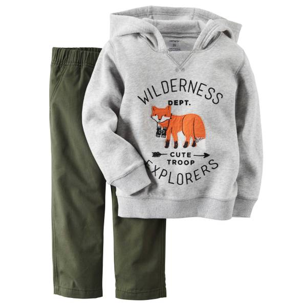Infant Boy's Gray & Oliv 2-Piece Fleece Hoodie & Canvas Pants Set