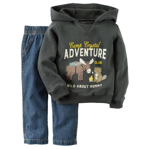 Baby Boy's Green & Blue 2-Piece Fleece Hoodie & Denim Pants Set