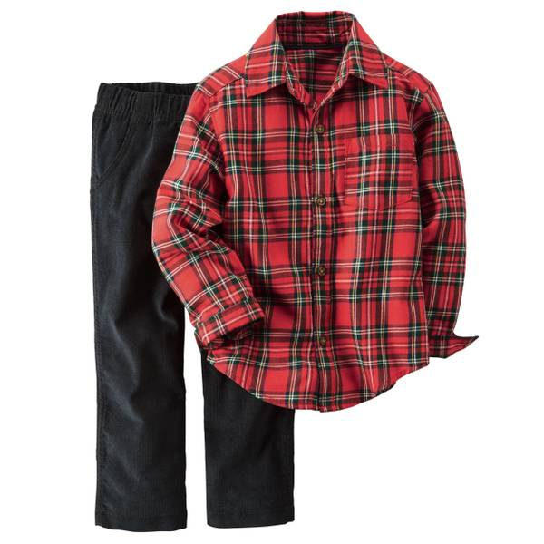 Baby Boy's Red & Black 2-Pice Button-Front Top & Corduroy Pants Set