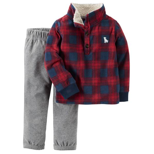 Baby Boy's Red & Gray 2-Piece Fleece Pullover & Pants Set