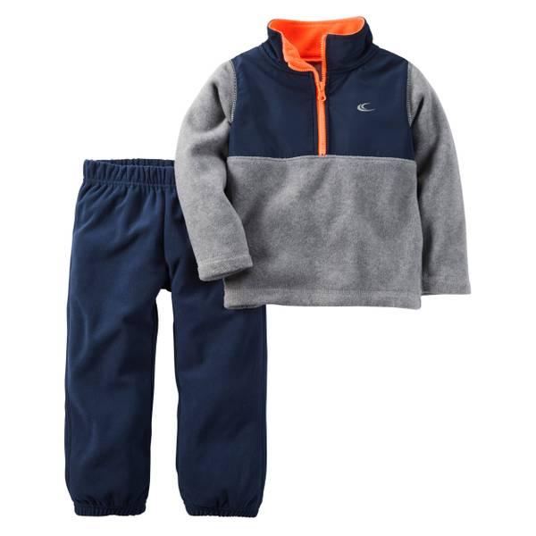 Baby Boy's Gray & Navy 2-Piece Half-Zip Fleece Pullover & Pants Set