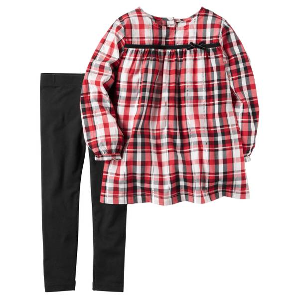 Infant Girl's Red & Black 2-Piece Metallic Plaid Top & Denim Leggings Set