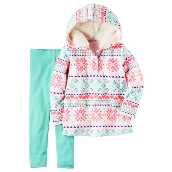 Baby Girl's White & Green 2-Piece Fleece Hoodie & Leggings Set