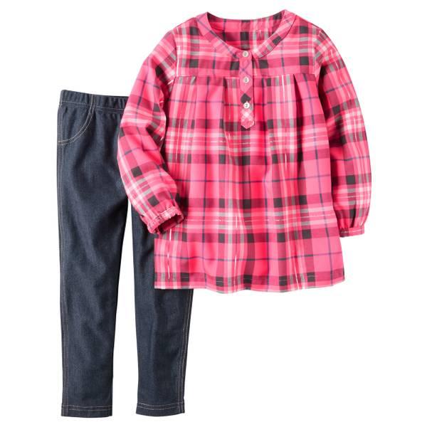 Baby Girl's Pink & Blue Flannel Top & Denim Leggings Set