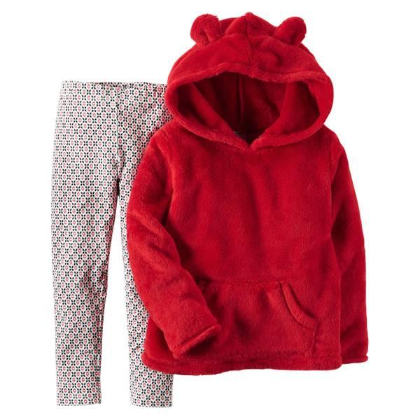 Baby Girl's Red & Black 2-iece Sherpa Hoodie & Leggings Set