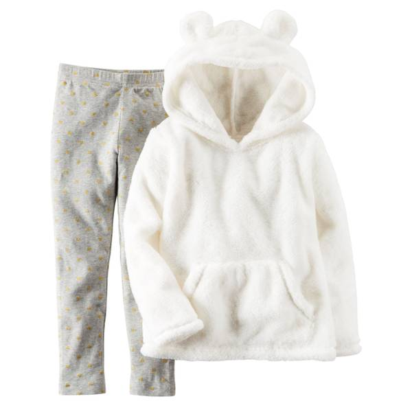 Baby Girl's White & Gray 2-Piece Sherpa Hoodie & Leggings Set