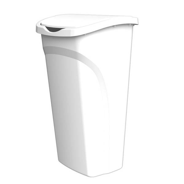 United Solutions WB0115 White Forty Quart Ten Gallon Indoor Wastebasket with Dual Swing Lid - 40QT 10 Gallon Trash/Refuse Can and Dual Swing Lid in White
