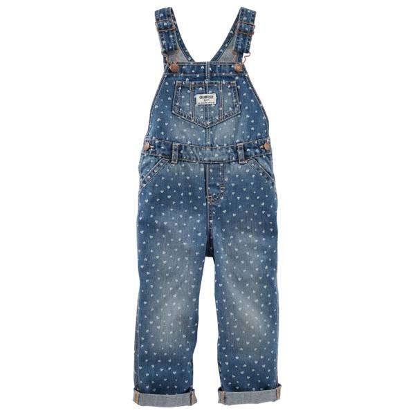 Baby Girl's Denim Heart Print Overalls