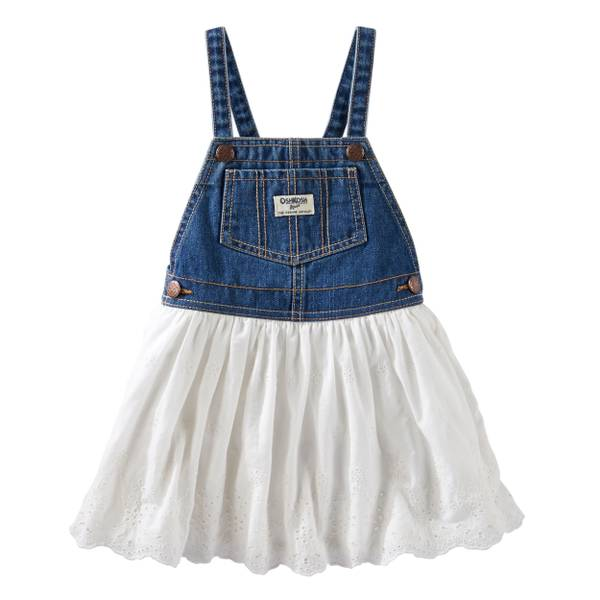 Baby Girls' Denim Eyelet Lace Jumper