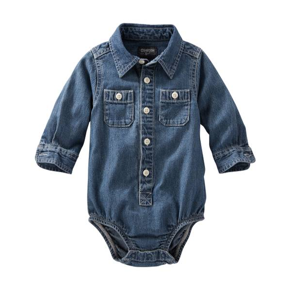 Baby Boy's Denim 2-Pocket Bodysuit