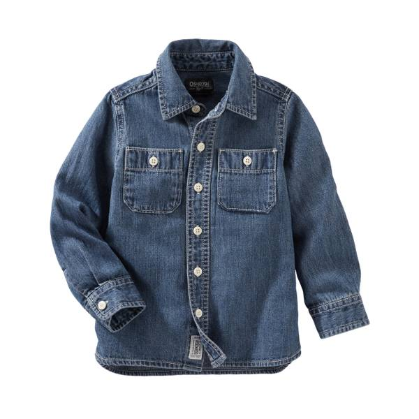 Toddler Boys' Denim Button-Front Shirt