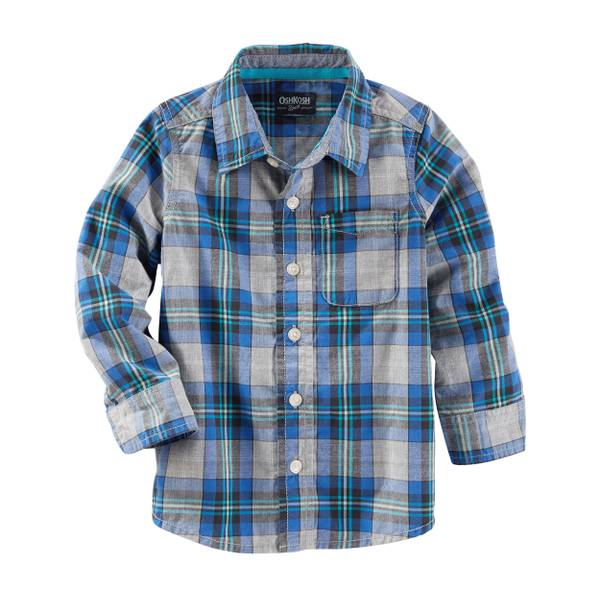 Toddler Boys' Multi-Colored Plaid Button-Front Shirt