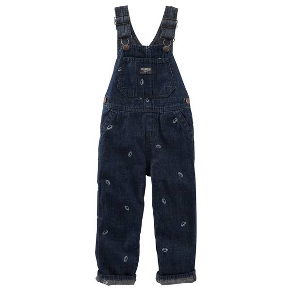 Baby Boys' Denim Football Schiffli Overalls
