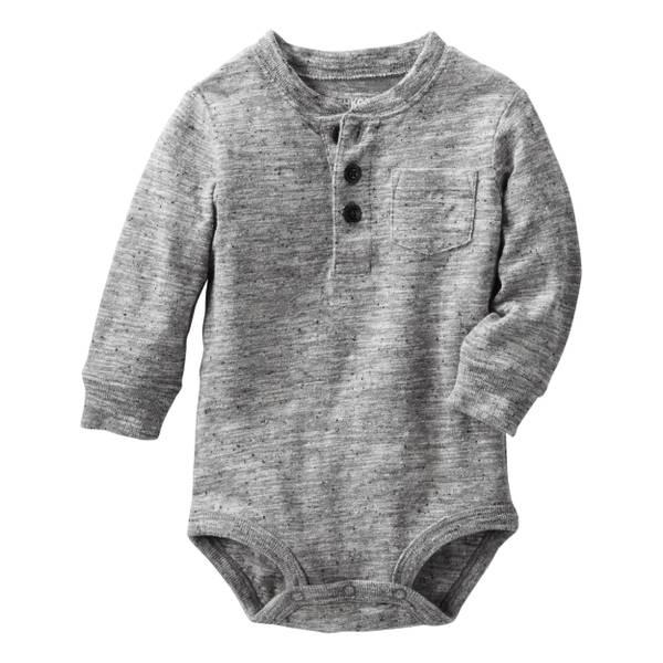 Baby Boy's Gray Henley Bodysuit