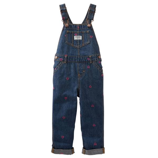 Baby Boys' Denim Schiffli Hearts Overalls
