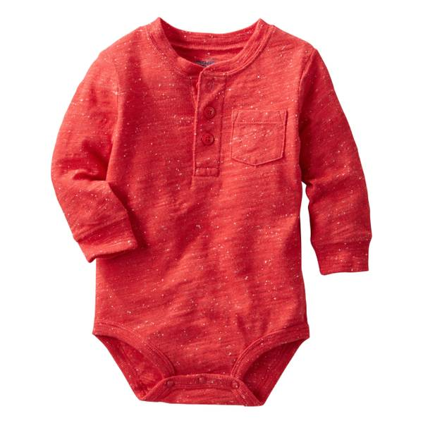 Infant Boy's Red Henley Bodysuit