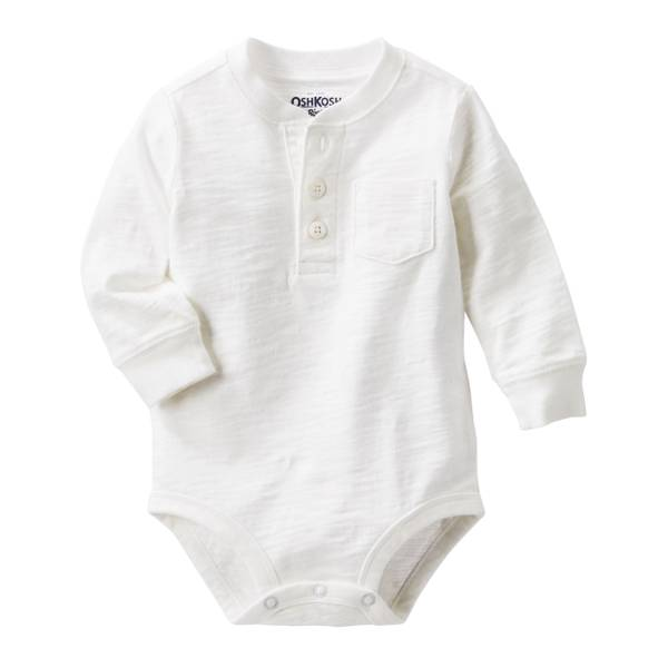 Infant Boy's Ivory Henley Bodysuit