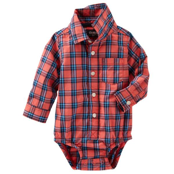Baby Boys' Plaid Button-Down Bodysuit