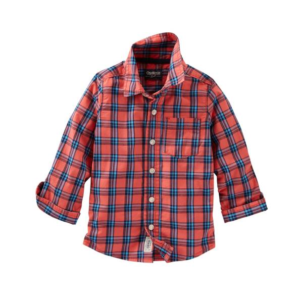 Toddler Boys'  Plaid Button-Front Shirt