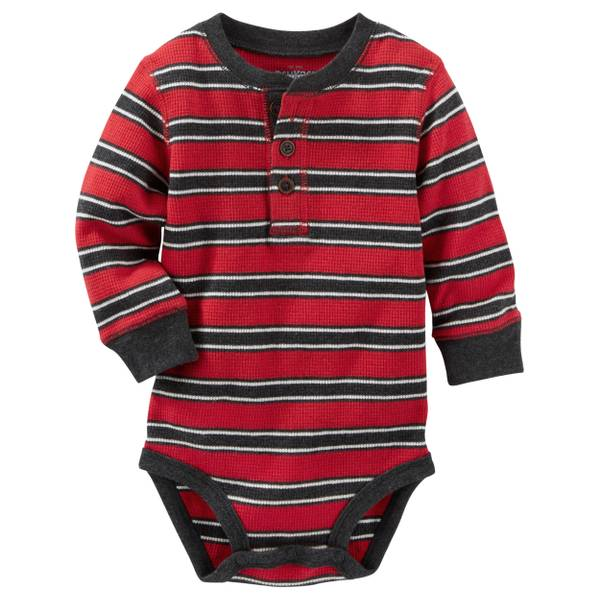 Baby Boy's Red Striped Henley Bodysuit