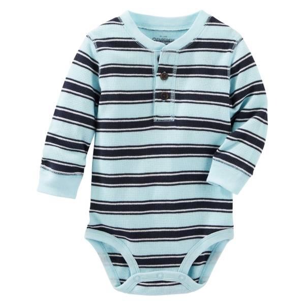 Baby Boy's Blue Striped Henley Bodysui