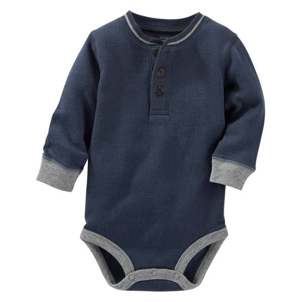 Baby Boy's Navy Thermal Henley Bodysui