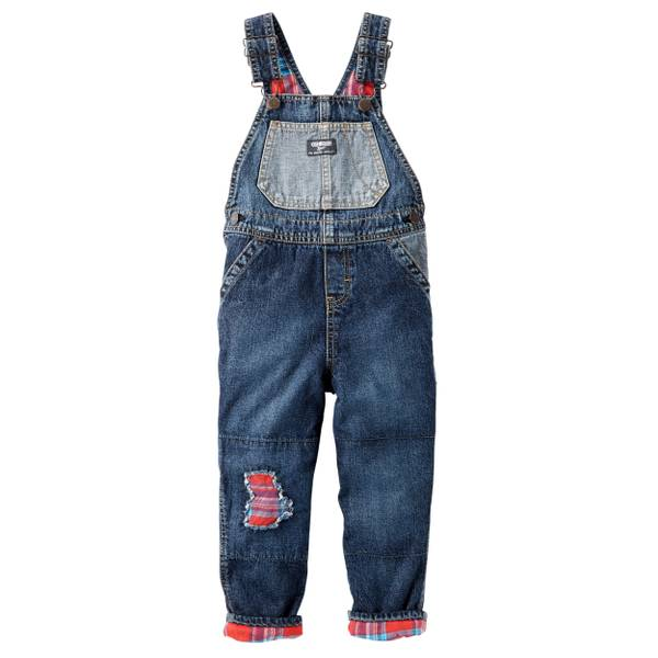 Baby Boys' Denim Flannel-Lined Overalls
