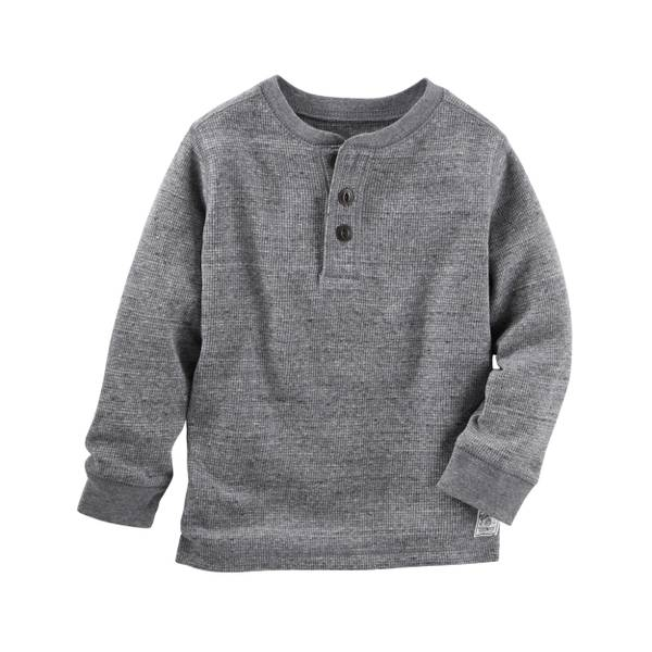 Boys' Charcoal Thermal Henley