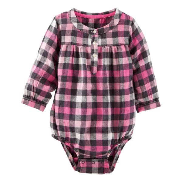 Infant Girl's Pink Flannel Henley Bodysuit