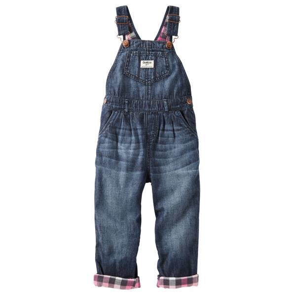 Baby Girl's Denim Flannel-Lined Overalls