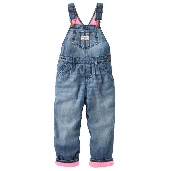 Baby Girl's Denim Fleece-Lined Overalls