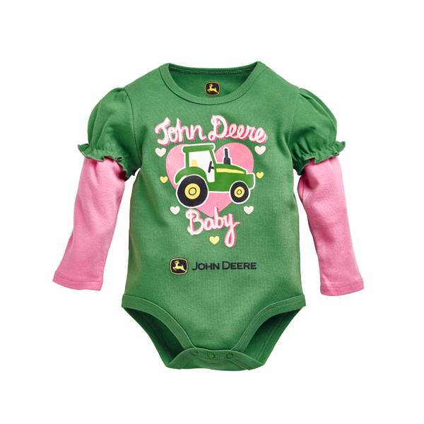 "Baby Girls' Long Sleeve ""John Deere Baby"" Bodysuit"