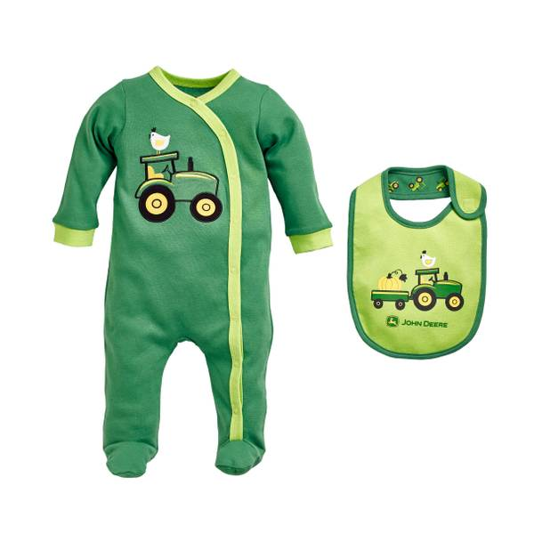 Baby Boys' Lime  &  Tractors Coverall Set