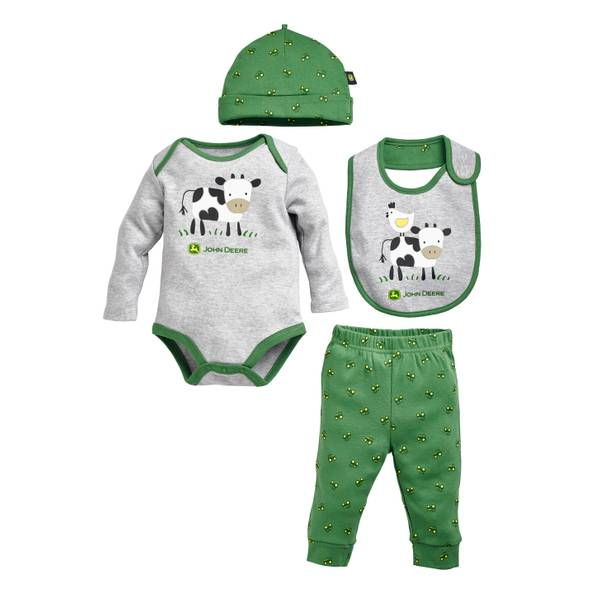 Baby Boys' Heather Gray & Green 4-Piece Cow Set