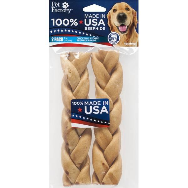 USA Beefhide Chicken Flavor Braided Sticks