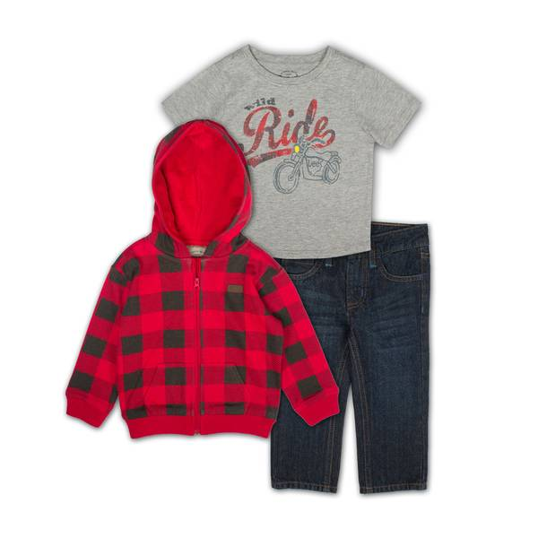 Baby Boys'  & Gray Shirts & Jeans Set