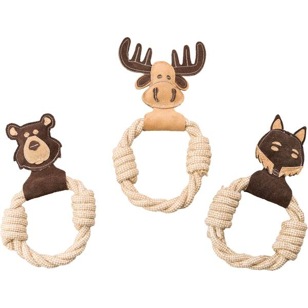 Dura-Fused Animal Ring Dog Squeak Toy-Assorted