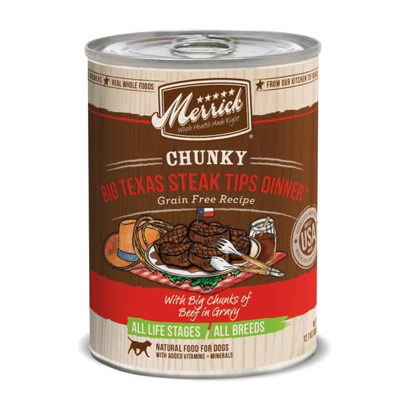 12.7 oz Texas Steak Tips Chunky Dinner Dog Food